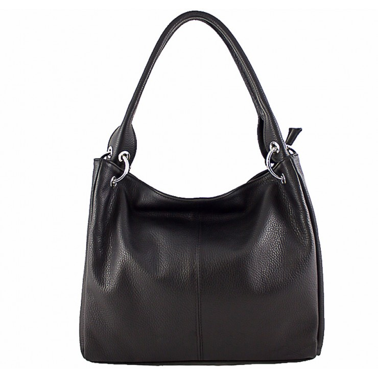 Leather shoulder bag 1107 black