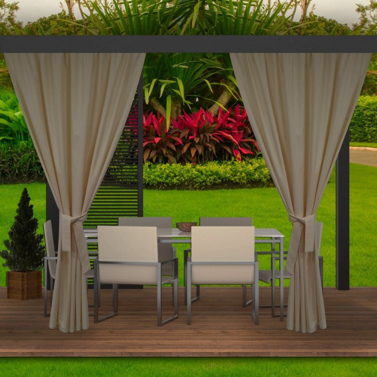 Garden curtain on the terrace MIG143 dark beige