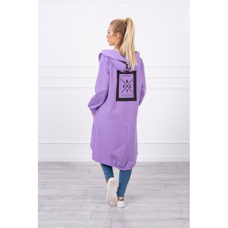 Cape with a hood oversize MI004 purple