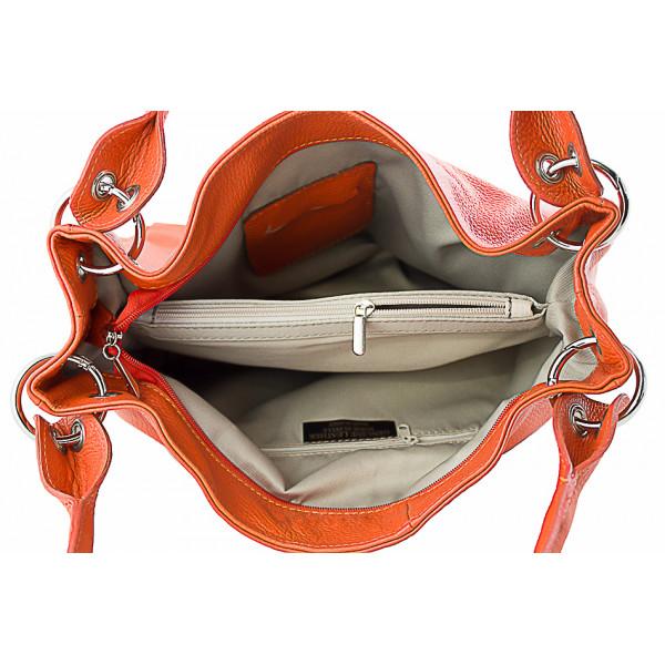 Dámska kožená kabelka 1107 šedohnedá