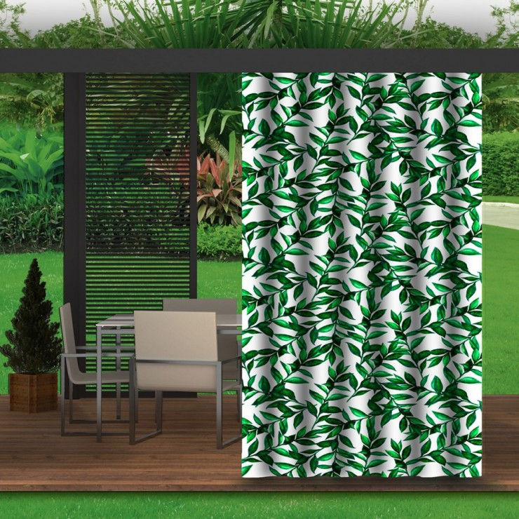 Garden curtain on the terrace MIG143 green twigs