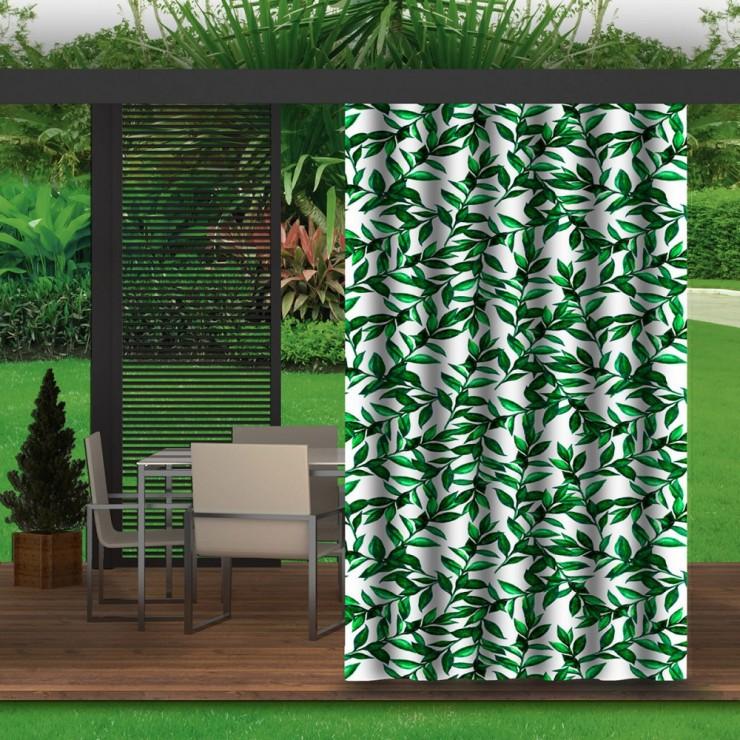 Záhradný záves do altánku MIG143 zelené vetvičky