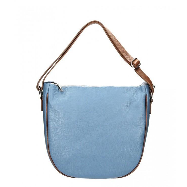 Kožená kabelka na rameno 588 blankytně modrá MADE IN ITALY