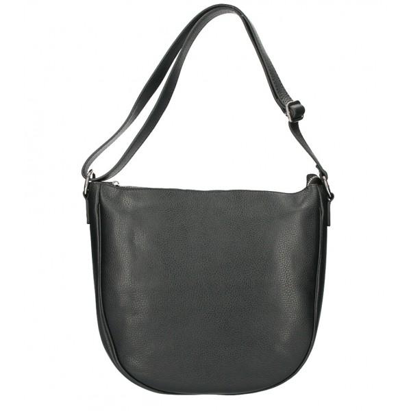 Kožená kabelka na rameno 588 čierna MADE IN ITALY Čierna