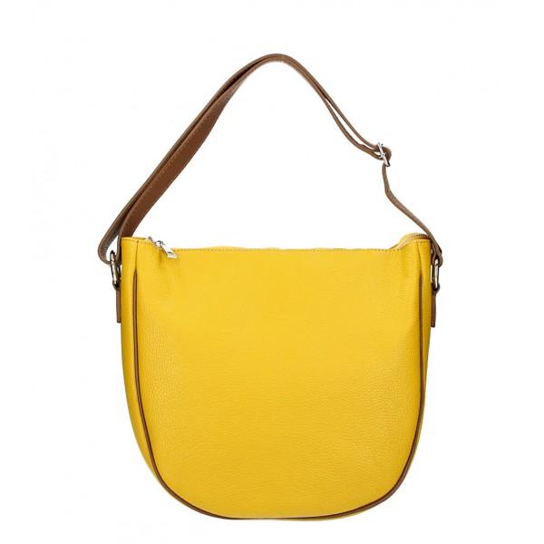 Kožená kabelka na rameno 588 okrová MADE IN ITALY Okrová