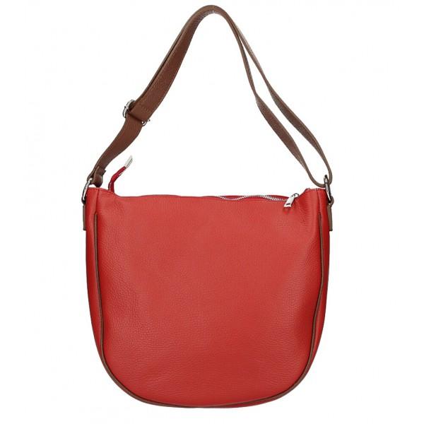 Kožená kabelka na rameno 588 červená MADE IN ITALY Červená