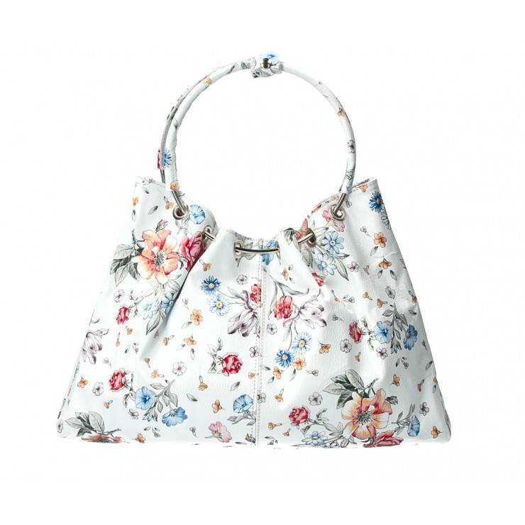 Kožená kabelka do ruky 1458 květinová MADE IN ITALY