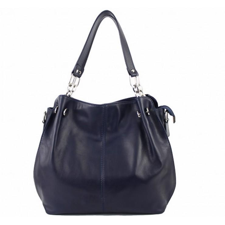 Leather shoulder bag 842 dark blue Made in Italy