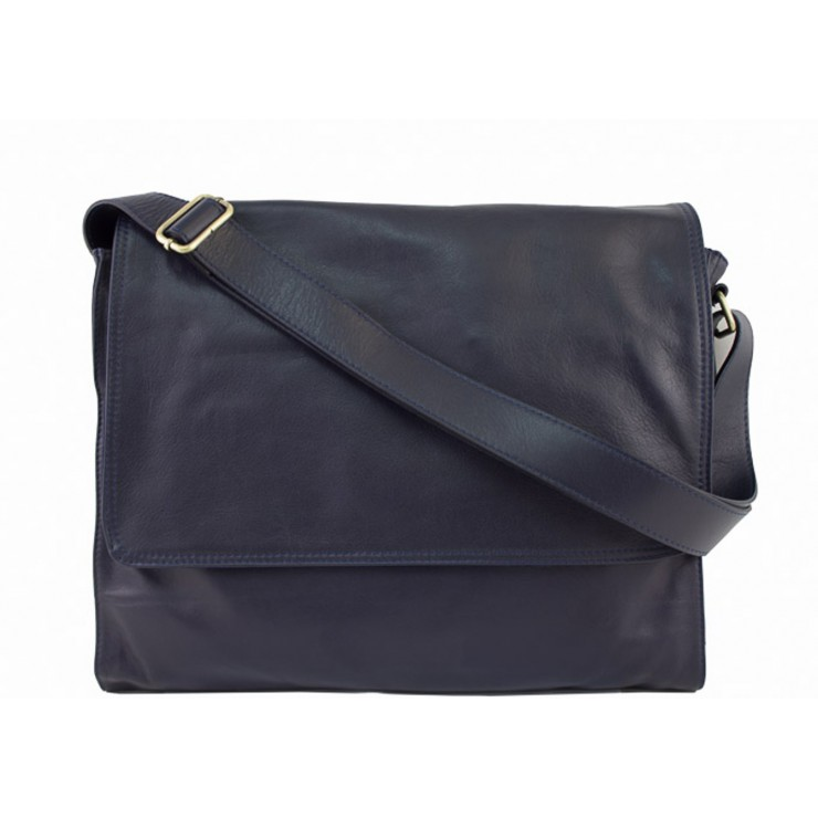 Pánská kožená taška na rameno 696 tmavěmodrá MADE IN ITALY