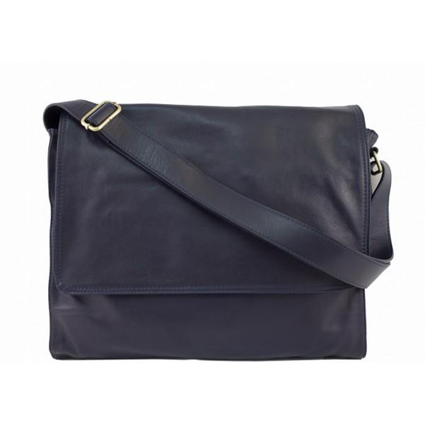 Pánska kožená taška na rameno 696 tmavomodrá MADE IN ITALY Modrá