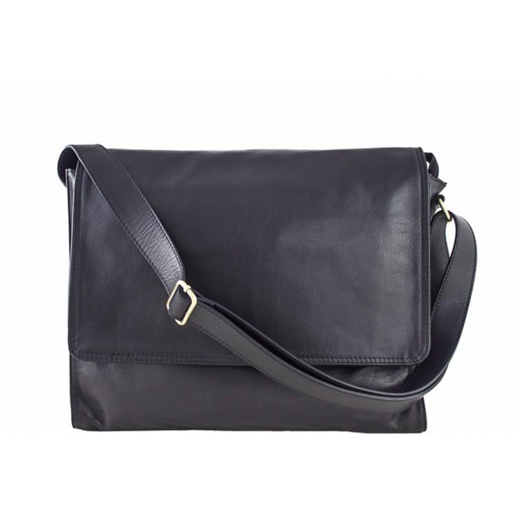 Pánska kožená taška na rameno 696 čierna MADE IN ITALY