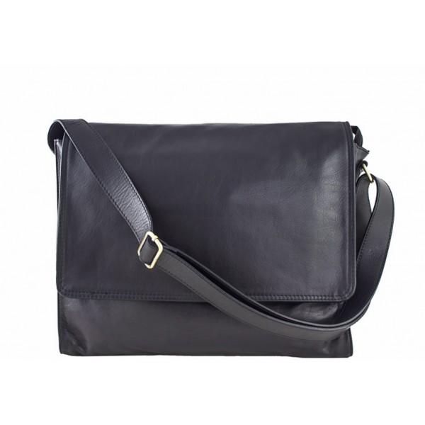 Pánska kožená taška na rameno 696 čierna MADE IN ITALY Čierna