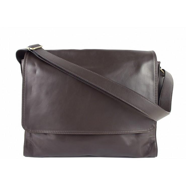 Pánska kožená taška na rameno 696 tmavohnedá MADE IN ITALY