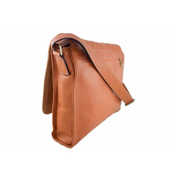 Pánska kožená taška na rameno 696 tmavohnedá MADE IN ITALY Hnedá