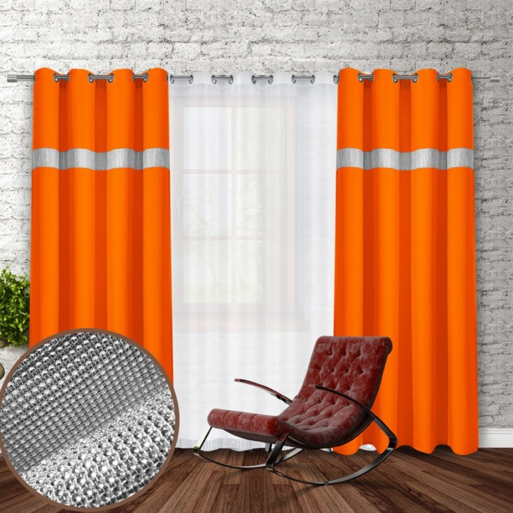 Curtain on rings with mirrors 140x250 cm orange