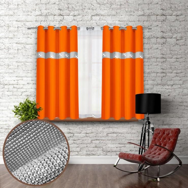 Záves na krúžkoch so zirkónmi 140x160 cm oranžový