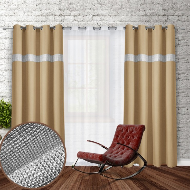 Curtain on rings with mirrors 140x250 cm beige