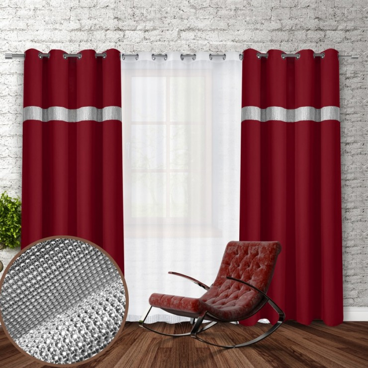 Curtain on rings with mirrors 140x250 cm bordeaux