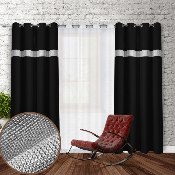 Curtain on rings with mirrors 140x250 cm black