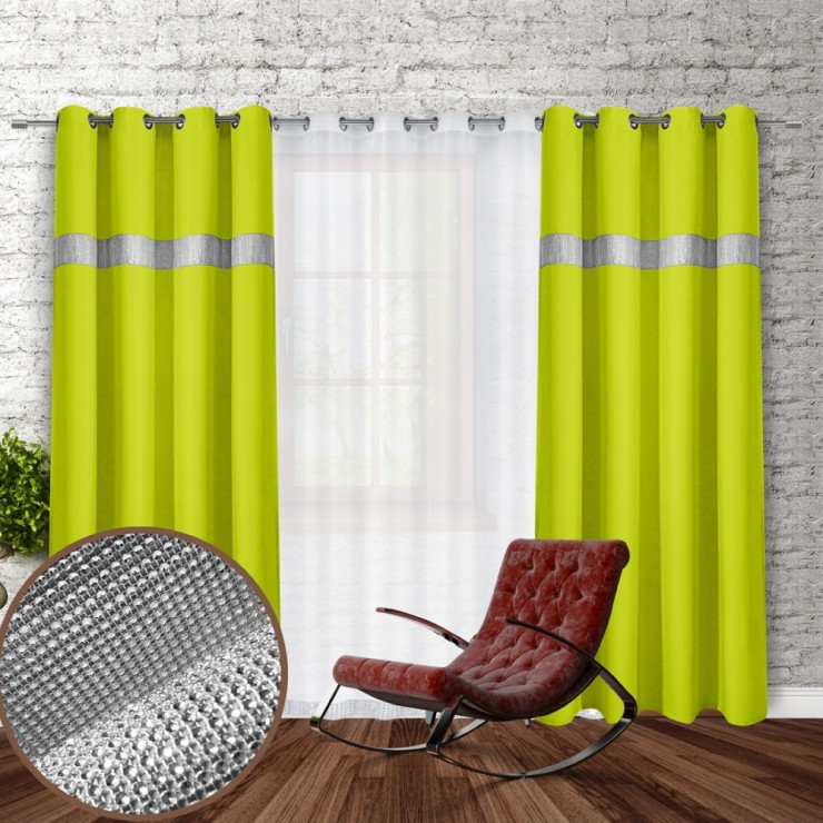 Curtain on rings with mirrors 140x250 cm green lime