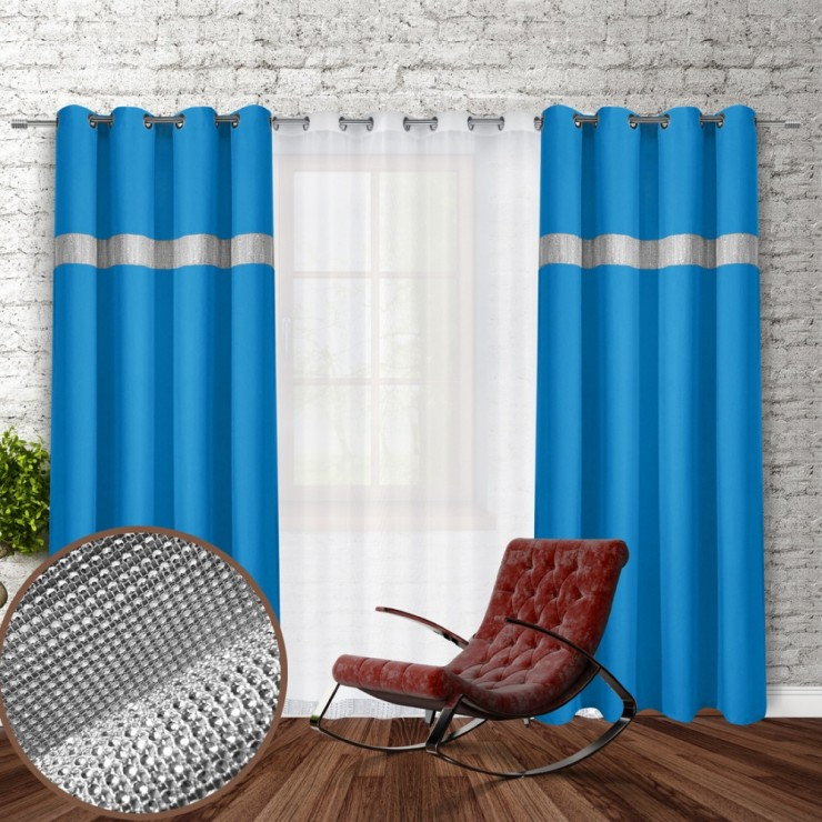 Curtain on rings with mirrors 140x250 cm light blue