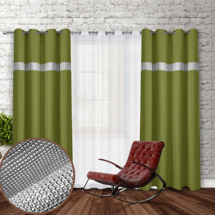 Curtain on rings with mirrors 140x250 cm green olive