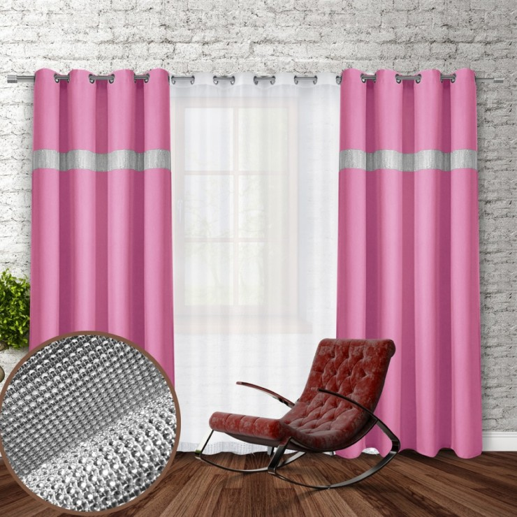 Curtain on rings with mirrors 140x250 cm pink