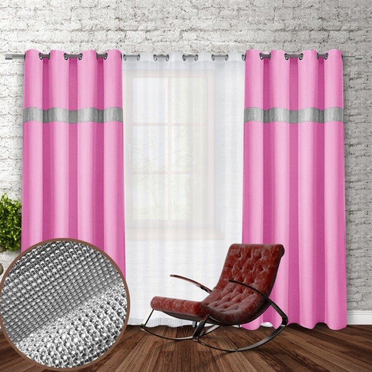 Curtain on rings with mirrors 140x250 cm light pink