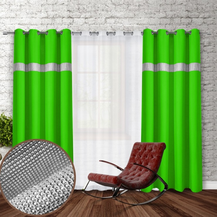 Curtain on rings with mirrors 140x250 cm light green