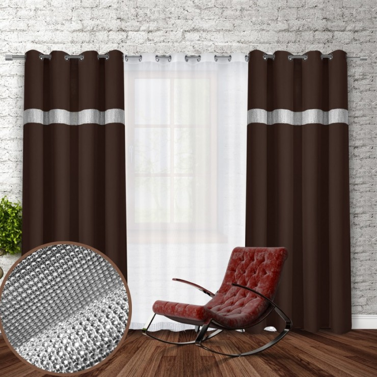 Curtain on rings with mirrors 140x250 cm dark brown