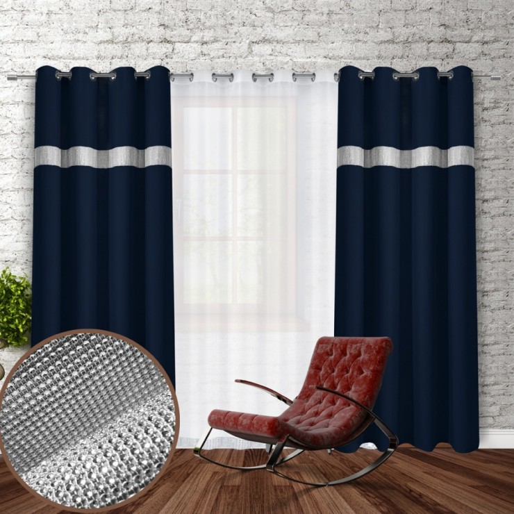 Curtain on rings with mirrors 140x250 cm dark blue
