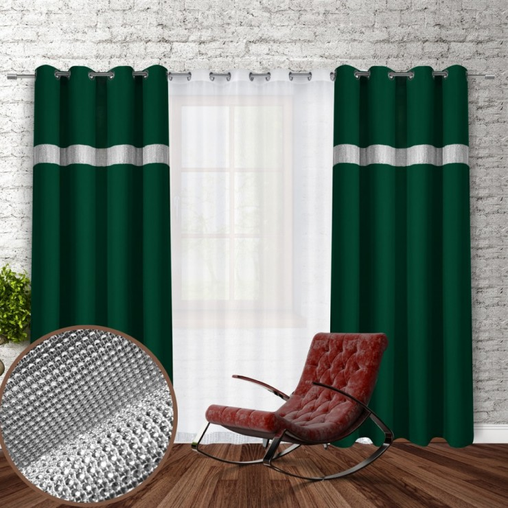 Curtain on rings with mirrors 140x250 cm dark green