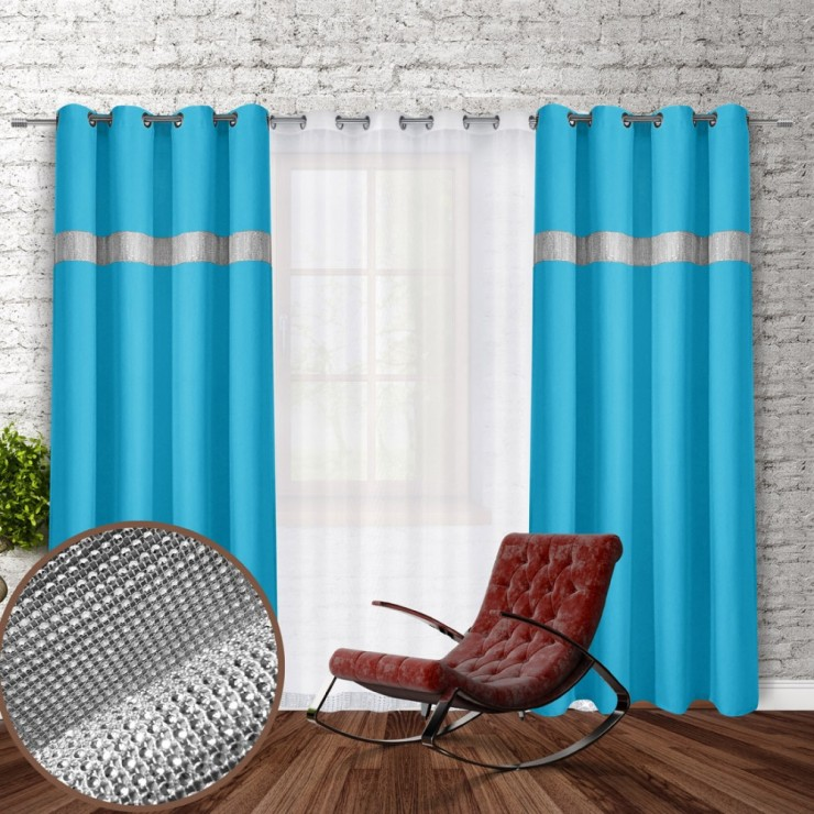 Curtain on rings with mirrors 140x250 cm turquoise blue