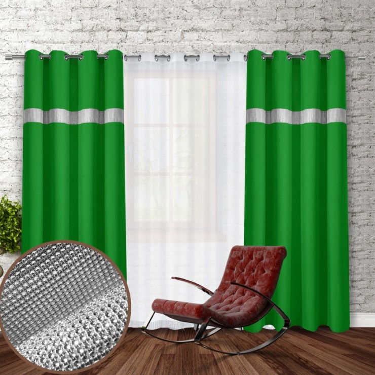 Curtain on rings with mirrors 140x250 cm green