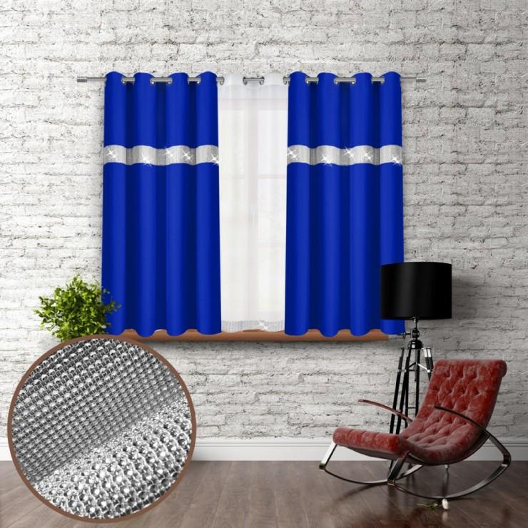 Záves na krúžkoch so zirkónmi 140x160 cm azurovo modrý