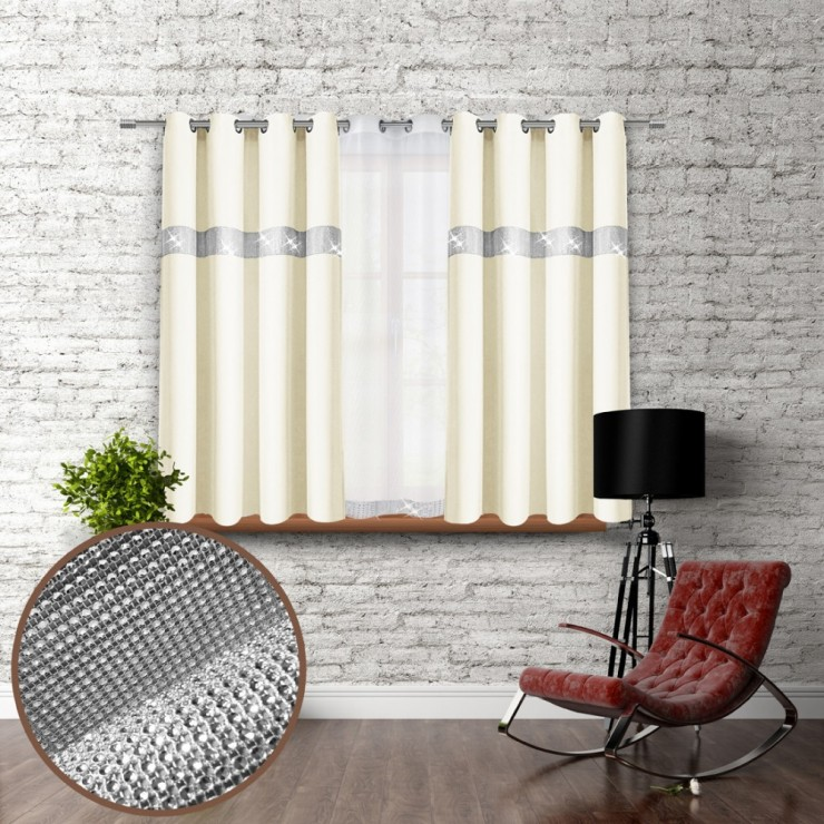 Curtain on rings with mirrors 140x160 cm cream