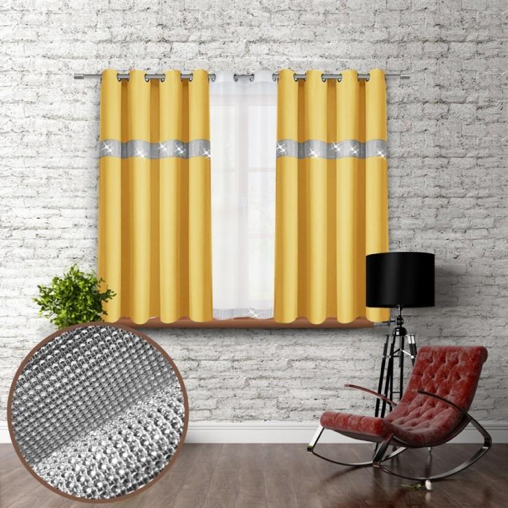 Záves na krúžkoch so zirkónmi 140x160 cm pastelovo žltý