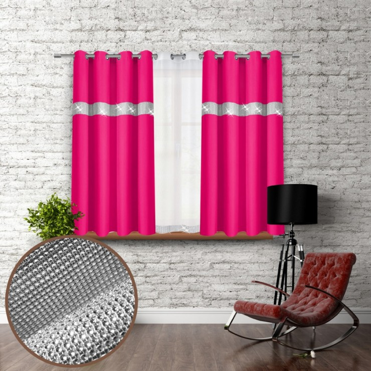 Curtain on rings with mirrors 140x160 cm dark pink