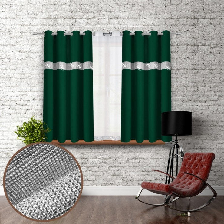 Curtain on rings with mirrors 140x160 cm dark green