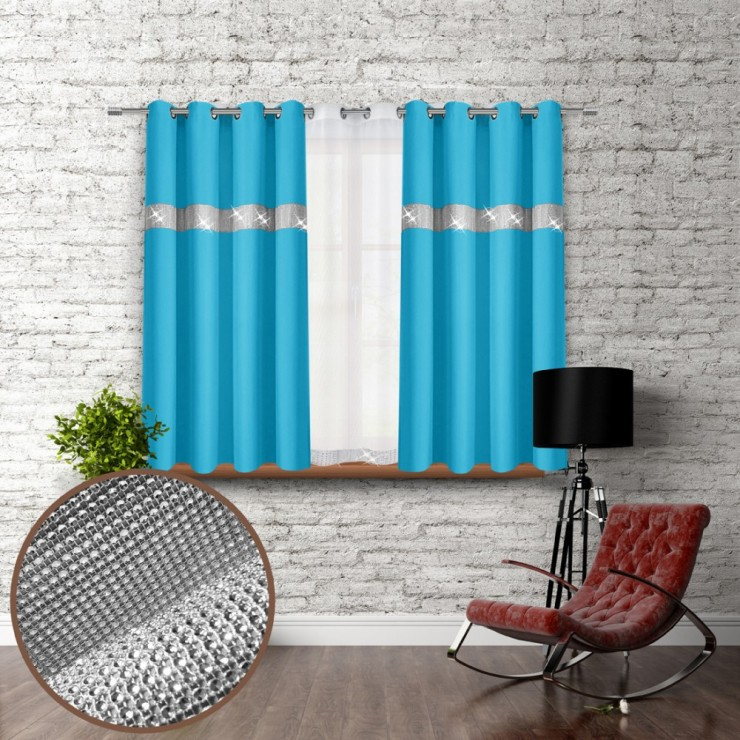 Curtain on rings with mirrors 140x160 cm turquoise blue