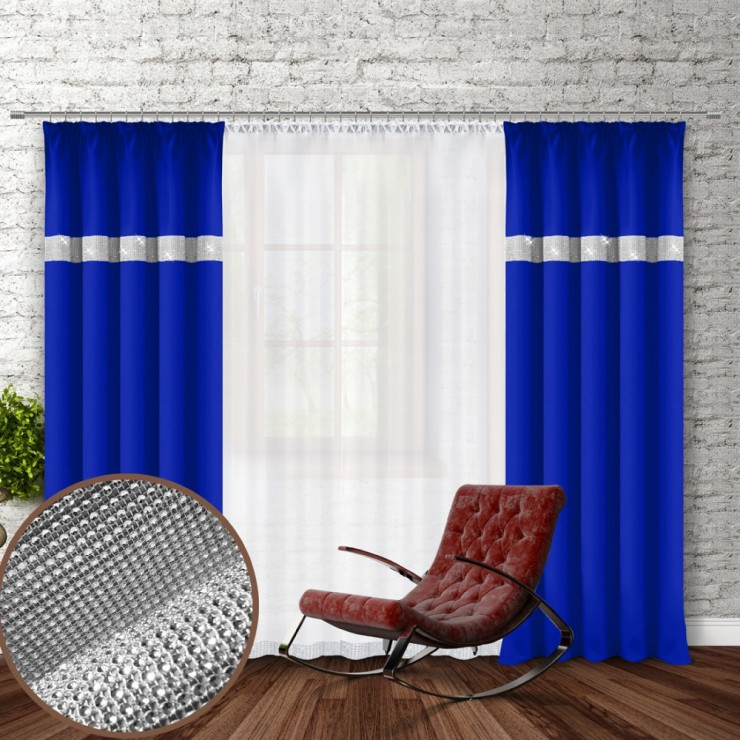 Curtain with plater tape and with zircons 140x250 cm azure blue