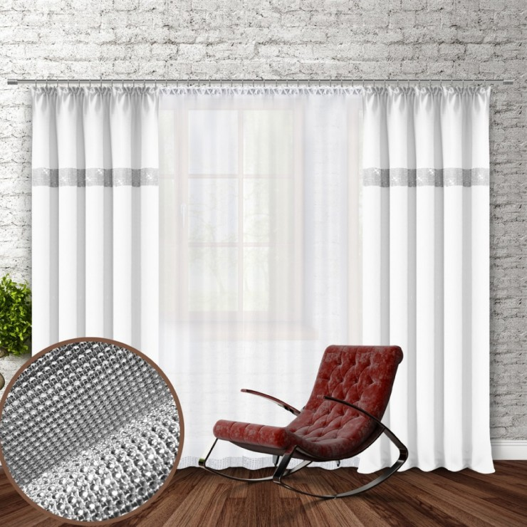 Curtain with plater tape and with zircons 140x250 cm white