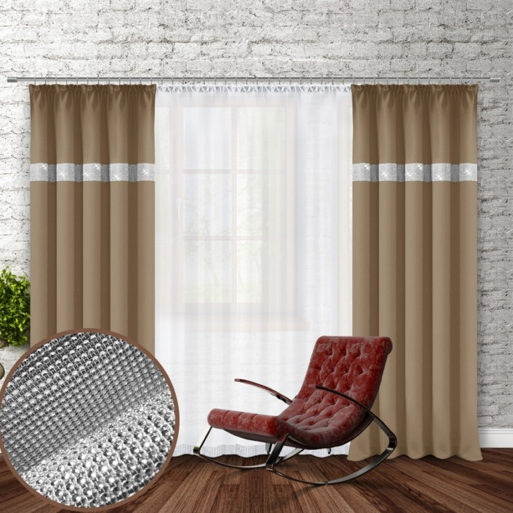 Curtain with plater tape and with zircons 140x250 cm mocca
