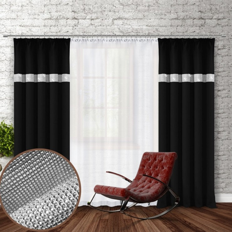 Curtain with plater tape and with zircons 140x250 cm black