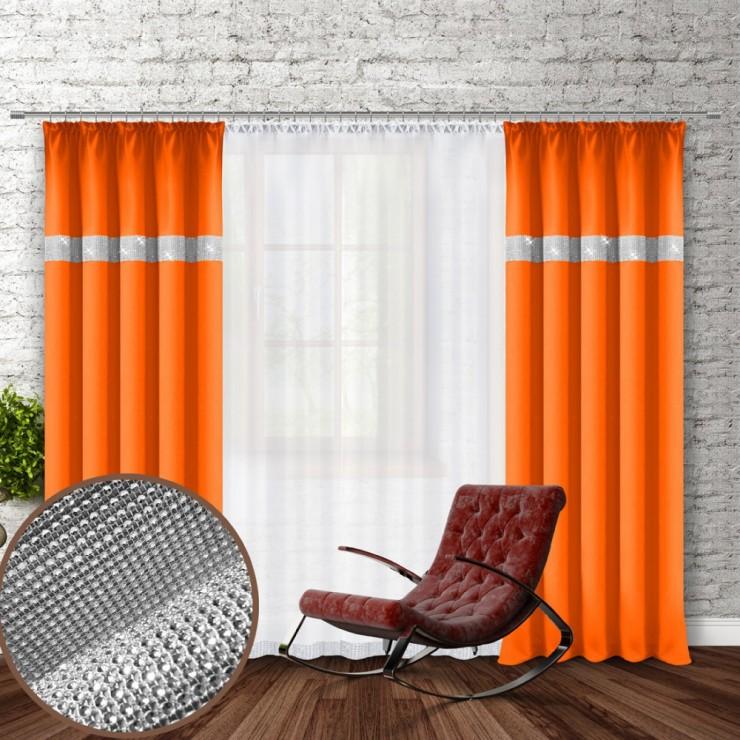 Záves na riasiacej páske so zirkónmi 140x250 cm oranžový