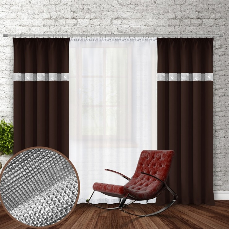 Curtain with plater tape and with zircons 140x250 cm dark brown