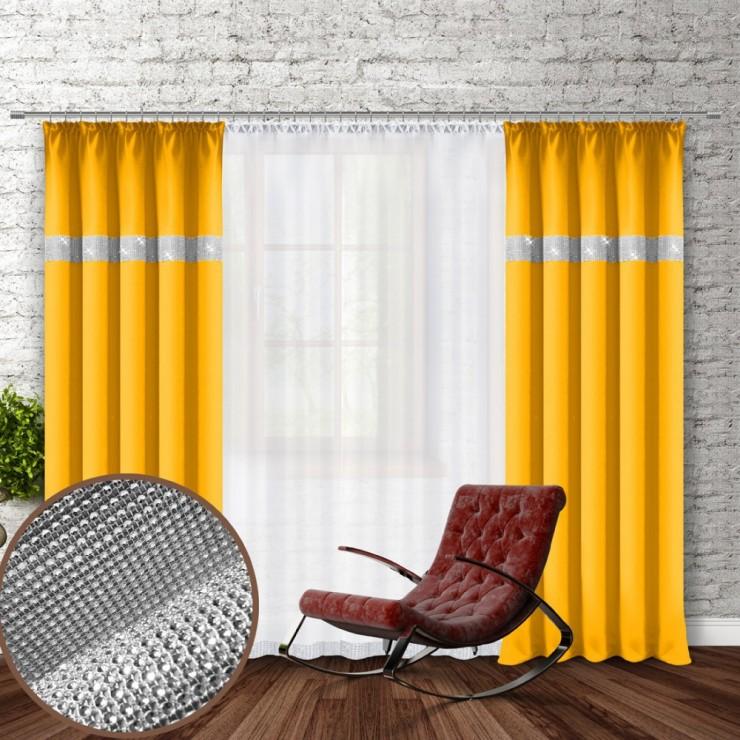 Závěs na řasící pásce se zirkóny 140x250 cm žlutý