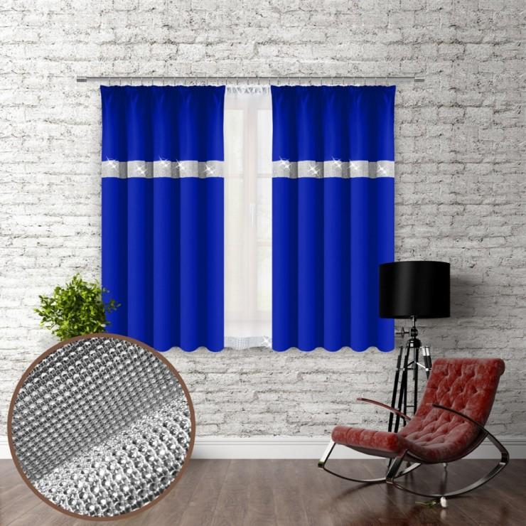 Curtain with plater tape and with zircons 140x160 cm azure blue