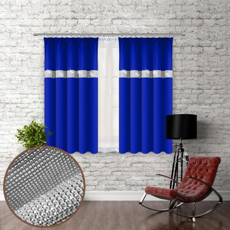 Záves na riasiacej páske so zirkónmi 140x160 cm azurovo modrý