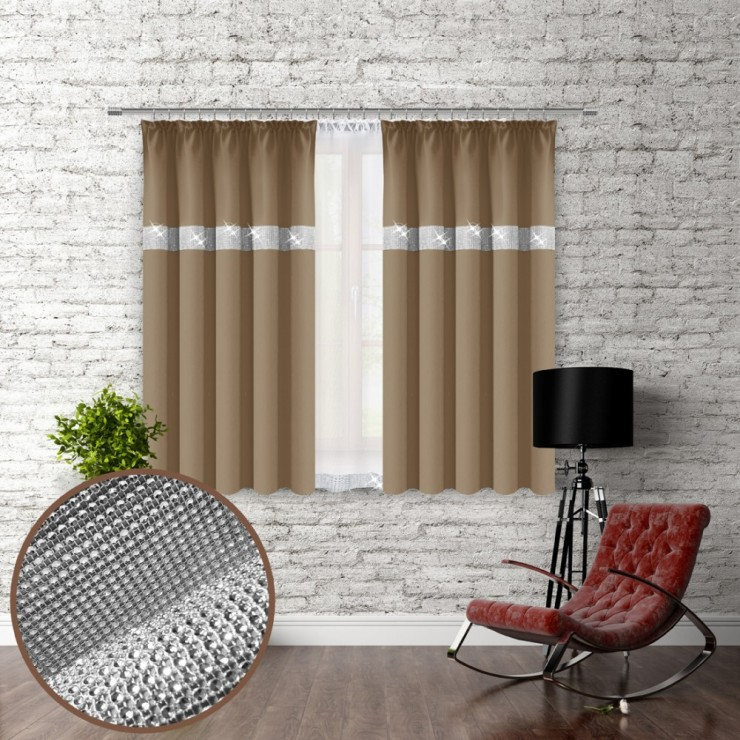 Curtain with plater tape and with zircons 140x160 cm mocca